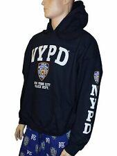 NYPD NAVY NEW YORK POLICE DEPARTMENT HOODIE WHITE LOGO SLEEVE COPS MEN UNISEX