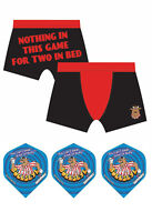 Bullseye TV Show Darts TWO IN A BED Official BOXER Shorts and FREE Flight Set