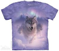 New The Mountain Northern Lights Wolves T Shirt