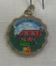 Vintage REU Silver Plated/Enamel Hollyland, U.S.A. Bracelet/Travel Charm - NOS
