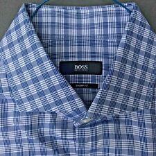 HUGO BOSS SHARP BLUE CHEX 100% COTTON DRESS SHIRT MINT COND SIZE 16-32/33