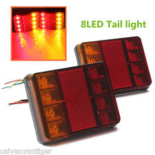 2X 12v Rear LED Trailer Car Truck Tipper Lights Lamp Stop/Tail/Indicator 8 LED