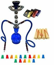 "Zebra Smoke Starter Series Pack: 18"" 2 Hose Hookah Combo Kit Set blue"