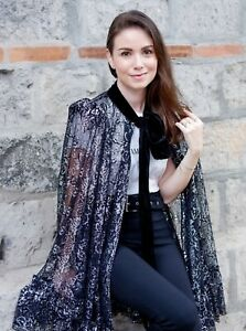 The Vampire's Wife x H&M The Gothic Romance Lace Cape Black Silver Colored
