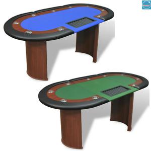 Table de poker avec lieu de croupier et bac de jetons pour 10 joueurs Vert/Bleu