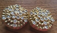 "Vintage Goldtone Rhinestone Clip-On Earrings 1 1/4"" Plastic Resin Unsigned"
