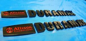 2PCS Gloss Black Allison Duramax Emblem Letters for Silverado 2500 HD 3500 HD