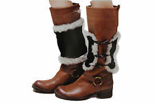 Women Boots Covers Toppers Pair White Faux Fur Slip On Booties Heels Black Knits