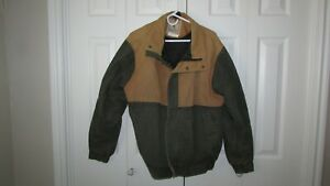 Browning Arms Plainsman Canvas Duck Hunting Coat Tan Green Size L Very Good