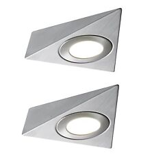 2 X LED MAINS TRIANGLE LIGHT KITCHEN UNDER CABINET UNIT CUPBOARD COOL WHITE