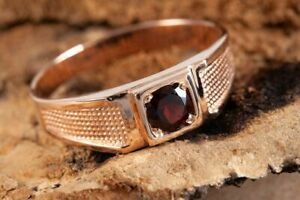 Men's Solitaire Engagement Wedding Modern Ring 14K Rose Gold Plated 1.5 Ct Ruby