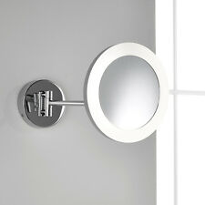 CHROME WALL MOUNTED LED ILLUMINATED MAKE-UP VANITY MIRROR WITH 3X MAGNIFICATION