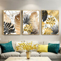 Golden Leaf Canvas Painting Wall Art Picture Nordic Plants Posters Home Decor