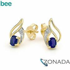 Natural Sapphire Diamond 9k Yellow Gold Stud Earrings 55071/S