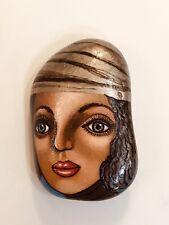 Fine Art Hand Painted Rock Woman In Hat By Jocelyn Bullock