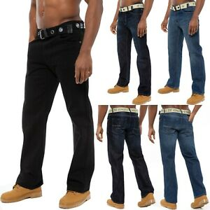 Enzo Mens Straight Leg Jeans Belted Regular Fit Denim Trousers Pants All Waists