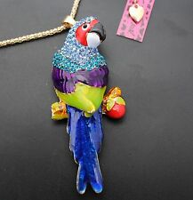 V62# Betsey Johnson new colorful crystal and enamel great great parrot pendant