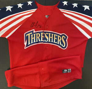 CLEARWATER THRESHERS JERSEY OT #18 SIGNED BASEBALL SHIRT SIZE 48 FLAG RARE