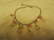 """Silver Tone Pink & Yellow Glass & Plastic Bead Chain Necklace - 18.5-20.5"""" long"""