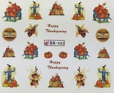 Nail Art Water Decals Happy Thanksgiving Fall Autumn Scarecrow Pumpkins BN362