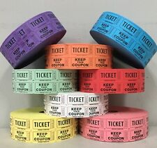 Raffle Tickets Double Stub Roll of 2000 Split the Pot 50/50 Fund Raiser Festival