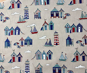 Little Beach Huts Print Fabric Curtains Decor Marine Material -140cm wide Blue