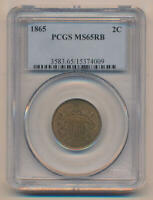 1865 Two Cent Piece, PCGS MS65 Red Brown