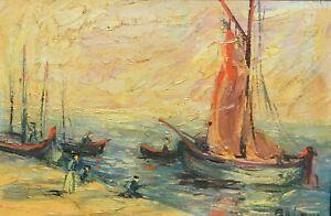 Tableau ancien huile marine bateaux bord de mer signé XXème