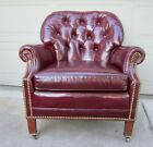 Vintage Hancock & Moore red leather club lounge library chair button tufted