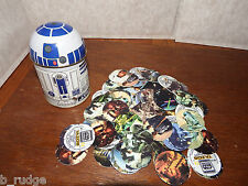 Joblot Star Wars tazos R2D2 tin figure toy playset pogs include rare No 32 & 50