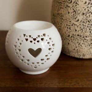 Oil Burner Love Heart Cut Out Ceramic Wax Melt Tealight Holder