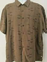 Solitude Men's Shirt Sz XL Brown Palm Tress Hawaiian Beach Casual Button Down