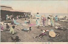 JAPAN Postcard Seaside OISO TOKYO beach pier sea coast HAND COLORED c1910