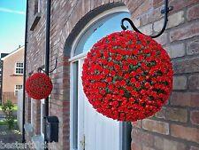2 Best Artificial 38cm Rosa Roja Topiario Colgante Flor Bolas Hierba Planta New
