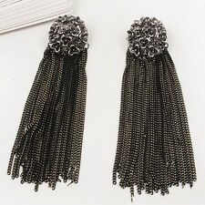 Korean Style Fashion Retro Design Black Long Tassels Flower Stud Earrings Women
