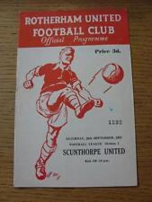 28/09/1963 Rotherham United V Scunthorpe United (piccolo segno di penna su copertina)