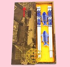 2Pairs Chinese Handmade Vintage Porcelain Fish Chopsticks And Brackets Gift Set