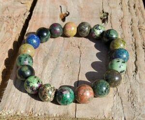 Rainforest Bracelet Gaia Chrysocolla Ruby Unakite Therapeutic Gemstone