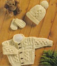 Knitting Pattern Baby Boy's Aran Cable Cardigan, Hat & Mittens   (161)