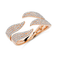 0.50 CT 14K Rose Gold Natural Pave Diamond Wavy Claw Statement Open Wrap Ring