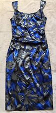 Maggy London Dress, Size 6, Blue & Silver Floral Print, Sleeveless, Shiny