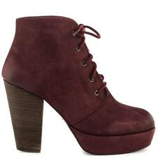 STEVE MADDEN RASPY BURGUNDY LEATHER LACE UP BOOTIE SIZE 8 (EU 41)