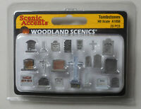 20 Painted Tombstones WOODLAND SCENICS 1:87 HO Scale Accents 1856