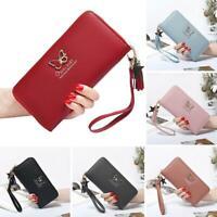 Fashion Butterfly Women Wallet Wrist Handle Phone Case Long Money Pocket
