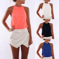 Women Summer Chiffon Vest Cami Sleeveless Tee Shirt Casual Blouse Tank Top S-3XL