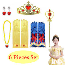 6PCS Girls Princess Belle Dress up Party Accessories Gloves Tiara Wand Necklace