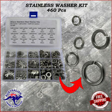 460pcs 5 Sizes Stainless Steel Flat & Lock Washer Assortment Kit M4 - M10