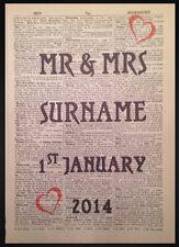 Vintage MR & MRS Personalizzato, Per Matrimonio Stampa Dizionario Pagina