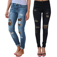 Women Leopard Ripped Frayed Skinny High Waist Stretch Denim Pants Jeans Trousers