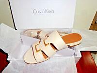 Calvin Klein Evita Flats Dress Open Toe Slide Sandals Shoes SIZE 8.5, 9 . NEW